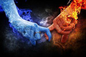 l'attraction magnétique entre flamme sjumelles